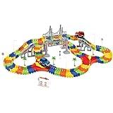 Codomoxo Magic Tracks - Circuito flexible para coche, 192 piezas, diseño de circuito de juegos con puente de crucero (192 piezas)