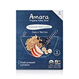 Amara Organic Baby Food | Oats & Berries | Homemade Made Possible | Mix with Breastmilk, Formula or Water | Certified Organic, Non-GMO, No Added Sugars | Stage 2 for Babies 8 Months+ | 5 Pouches