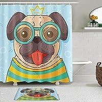WOTAKA シャワーカーテン バスマット 2点セット メガネをかけている面白いブルドッグかわいい素敵な子犬のペット 自家 寮用 ホテル 間仕切り 浴室 バスルーム 風呂カーテン 足ふきマット 遮光 防水 おしゃれ 12個リング付き