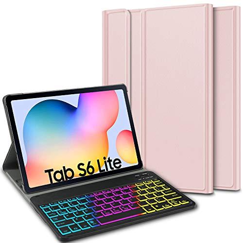 ELTD Tastatur Hülle für Samsung Galaxy Tab S6 Lite (Deutsches QWERTZ),Hülle mit 7 Farben LED-Hintergrundbeleuchtung Kabellose Tastatur für Samsung Galaxy Tab S6 Lite 10,4 Zoll (Roségold)