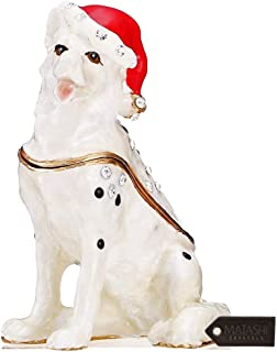 Matashi Hand-Painted Holiday Christmas Dog Trinket Box with Crystals Decorative Christmas Puppy Ornament with Stocking Cap Holiday Jewelry Holder Store Rings, Necklaces, Earrings