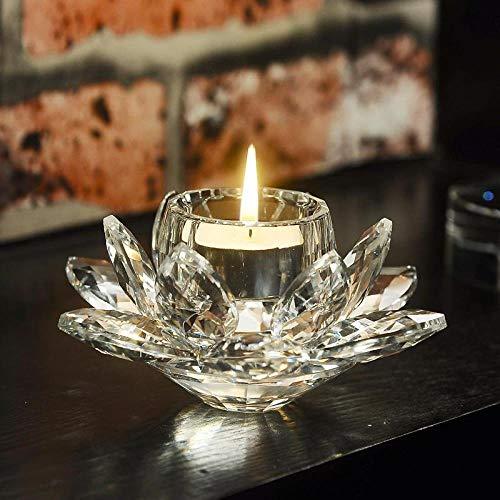 Aqumotic European Crystal Glass Candle Holder for Lotus...