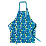 Children Cooking Aprons, Pure Cotton Children Kids Aprons with Adjustable Neck Strap and Pocket Cute Blue Child Chef Aprons for Boys and Girls in 2 Sizes (Blue, S)