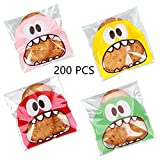 Efivs Arts 200 PCS 4x4 inch Cookie Biscuit Candy Bags Little Monster Self Adhesive Cookie Bakery...