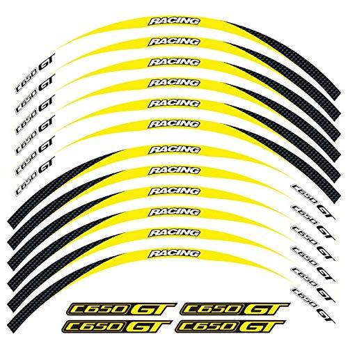 SUSHANCANGLONG Un juego de 12 pegatinas reflectantes impermeables para llantas BMW C650GT (color: amarillo)