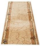 Tapiso Dorian Teppich Läufer Flur Meterware Küche Schlafzimmer Brücke Kurzflor Creme Streifen Floral Meliert nach Maß ÖKOTEX 60 x 180