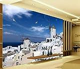 Fototapete 3D Effekt - 3D Tapete - Griechischen Ägäis Architektur Tapeten 3D Vliestapete Moderne Wandbilder Wanddeko - 300x210cm
