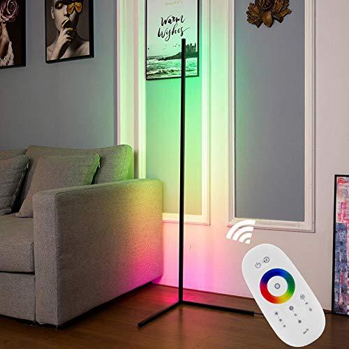 Crayom Lámpara de pie RGB Color cambiante Atenuación LED Lámpara de pie de Esquina Decoración de Estilo Minimalista Moderno Lámpara de pie Regulable con Control Remoto para Sala de Juegos Sala Estar