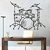 Set Drum Silhouette Wall Home Living Room decoración de Moda Instrumento Musical Drum Set Wall Sticker 42X46cm