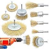 9 piezas Cepillo de Alambre Revestido de Latón, Cepillos Metálicos, Hacer que el óxido y la descontaminación sean más eficientes