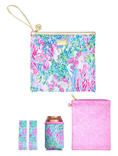 Lilly Pulitzer Water Resistant Vinyl Beach Day Pouch - Includes Drink Hugger, Zip Pouch, and Towel Clips, Best Fishes