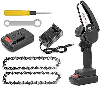 Miouldram 1742/5000 - Minimotosierra eléctrica de 4 pulgadas con batería portátil y motor de cadena sin escobillas, 24 V y 2 cadenas de sierra para cortar madera