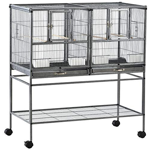 Pawhut Cage à Oiseaux avec séparation mangeoire et...