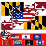 AOKDEER Maryland State Flag 3x5 Ft Crab Decal Premium Polyester Double Sided and Double Stitched Outdoor Military Home Decorative Banner with Brass Grommets