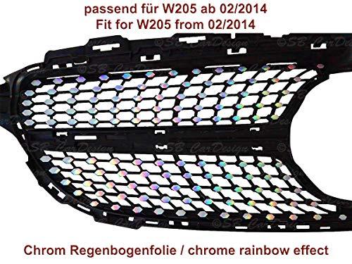 Diamantgrill Folien Sticker für Mercedes C-Klasse W205 AMG Grillaufkleber (Chrom Regenbogen Effekt)