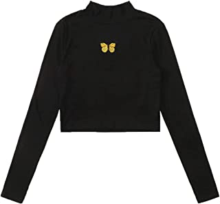 SweatyRocks Women's Color Block Tie Dye Slim Fit Long Sleeve Crop T Shirt Tops
