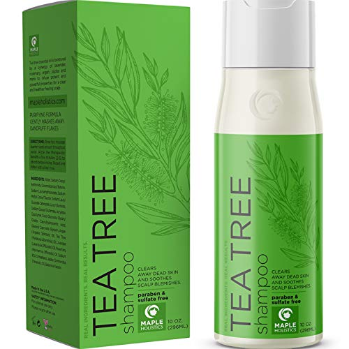 Pure Tea Tree Shampoo for Dandruff and Itchy Scalp - Sulfate Free Deep Cleansing Natural Hair Care for Men and Women - Essential Oils Rosemary Lavender - Sensitive Skin and Color Treated Hair - 10 oz