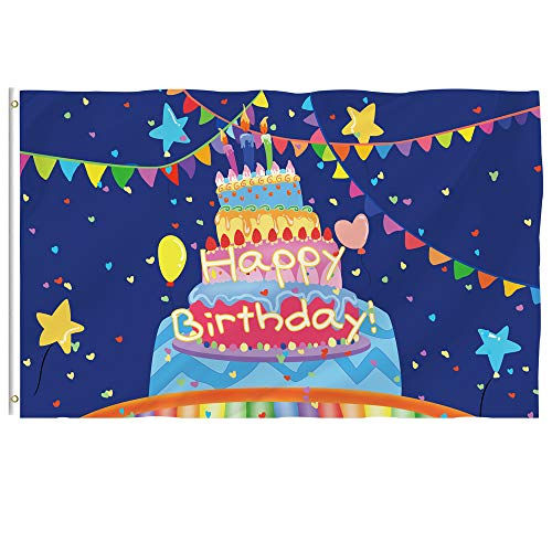 Bonsai Tree Happy Birthday Flag 3x5 Ft - Vivid Color and Double Stitched - Large Double Sided Polyester Birthday Flags with Brass Grommets for Indoor Outdoor Party Decoration