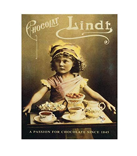"""Chocolat Lindt A Passion For Chocolate Vintage Style Metal Advertising Wall Plaque Sign Or Framed Picture Frame,Aluminum Metal Signs Tin Plaque Wall Art Poster For Home Decor 12""""x8"""""""