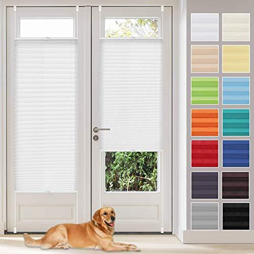Vkele Plissee Klemmfix Faltrollo ohne Bohren (Weiß, B70cm x H200cm) Sichtschutz und Sonnenschutz, Plissee Rollo Jalousie für Fenster und Tür