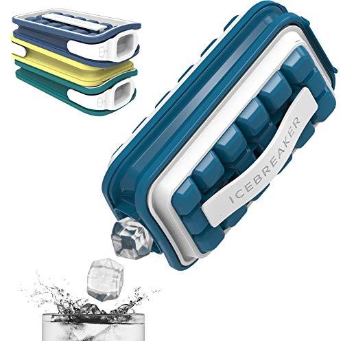 ICEBREAKER POP Eiswürfelform - Innovativer Eiswürfelbereiter - Sehr kompakt, Gute Isolierung gegen frühes Schmelzen, ohne BPA - Zur Herstellung von 18 großen Eiswürfeln (Sapphire Blue)