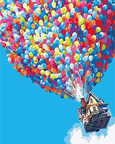 QIAOYUE Malen nach Zahlen Bunte Luftballons Erwachsene und Kinder malen Wohnzimmer Schlafzimmer Küche Dekoration Leinwand40X50Cm (Rahmenlos)