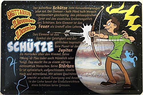 Deko7 blikken bord 30 x 20 cm Sagittarius 23 november - 21 december - sterrenbeeld bescherming