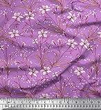 Soimoi Lila Satin Seide Stoff Blätter & Azalee Blumen-