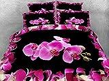 LifeisPerfect JF-200 phalaenopsis Lujo Imprimir linge de Encendido 4pcs, Queen, King Size Camas orquídeas Polilla Mariposas Set