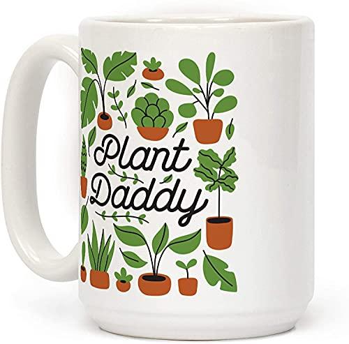 Plant Daddy - Taza de café de cerámica personalizada de 15 onzas para viajes, oficina, hogar