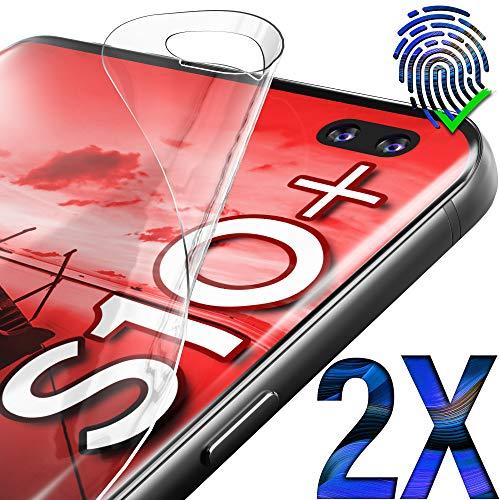 """UTECTION 2X Schutzfolie für Samsung Galaxy S10 Plus (6.4\"""") - Fingerabdruck kompatibel - Premium Folie KEIN Glas - Hüllenfreundlich - Anti Kratzer Displayschutzfolie HD Ultra Clear - Displayfolie"""