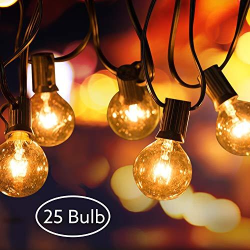 AODOOR Guirnalda Luces Exterior, Cadena de Bombillas G40 Guirnaldas Luminosas de Exterior, 25ft LED Cadena de Luces, Jardín Patio Trasero Fiesta Navidad (25 +2 Bombillas Incandescentes)