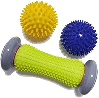 Beauenty Plantar Fascia Rolling Foot Massage Ball Set 1 Casters 2 Puncturing Balls Whole Body Trigger Point Massage Muscle...