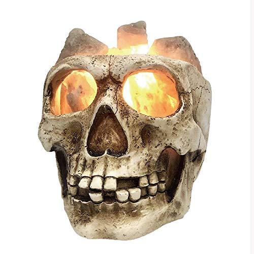 EDG Lámpara de Noche de Calavera de Sal del Himalaya Crystal 3D Ghost Head Mood Light LED Lámparas de Mesa Purificación de Aire de Plasma Mejorar el sueño Halloween Bar Dormitorio Novedad Decoración