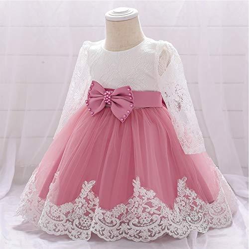 WOCINL Vestidos de encaje de manga larga para bebés y niñas, con lazo, princesa, boda, cumpleaños, desfile, bautismo, tutú, Dusty Rose, 6-9 meses