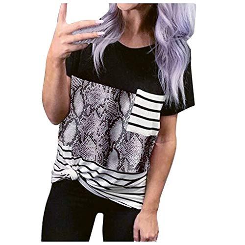 MOTOCO Damen Leopard Drucken T-Shirt Leichte Kurzarm O-Ausschnitt Sommeroberteile mit Tasche(M.Grau)