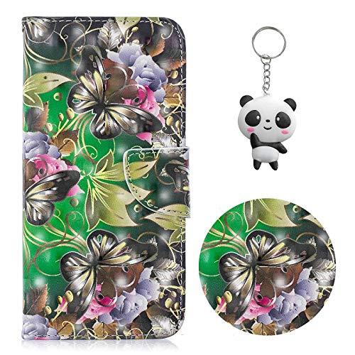 Coque Huawei Y6 2019 / Honor 8A Fleur de Papillon PU Magnétique Flip Portefeuille Housse pour Huawei Y6 2019 / Honor 8A (6,09 Pouces) avec Un Cadeau
