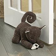 """Elements 5218430 Decorative Polyester Door Stop, 10"""", Brown Cat"""