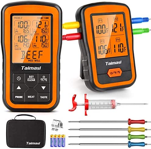 Wireless Digital Meat Thermometer with 4 Probes Meat Injector Upgraded 500FT Remote Range Cooking product image