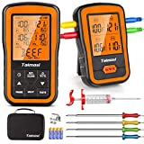Wireless Digital Meat Thermometer with 4 Probes & Meat Injector, Upgraded 500FT Remote Range Cooking...
