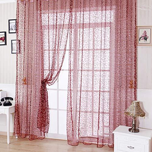 Just Contempo - Tenda Semitrasparente alla Moda, 9 m, Motivo Floreale Classico, per Cucina, Camera da Letto e Soggiorno Rosso Vinaccia