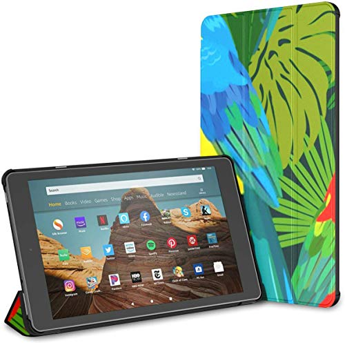 Case for All-New Amazon Fire Hd 10 Tablet (7th and 9th Generation,2017/2019 Release),Slim Folding Stand Cover with Auto Wake/Sleep for 10.1 Inch Tablet, Seamless Pattern Palm Trees Leaves Blue