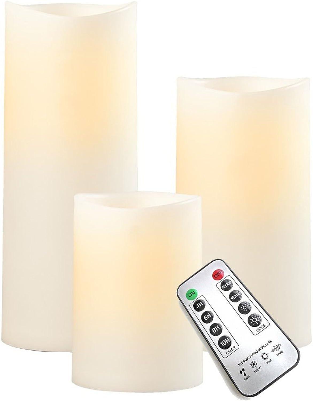 Sompex LED Auenkerze - Kunststoff Elfenbein, Hhe 3er Set (12.5-23cm + Fernbedienung)