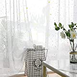 FACWAWF Cortina De Gasa De Estrella De Plata Caliente Simple Simple Dormitorio Salvaje Sala De Estar Balcón Ventana De Pantalla Blanca Cortina Anti-Ultravioleta 2xW150xH270cm