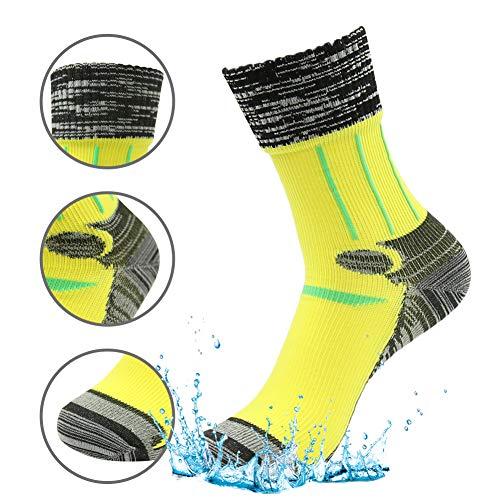 RANDY SUN Unisex Sport-Socken, 100prozent wasserdicht, atmungsaktiv, SGS Zertifiziert, für Sport, Klettern, Skifahren, Trekking, Wandern, Damen, Yellow-1 Pair, Small