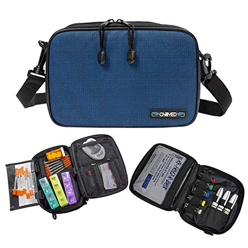 ChillMED Elite Diabetic Bag - Organizer Supply Kit | Insulin and Medication Travel Cooler Bag with Reusable Ice Pack - Up to 14 Hours of Cool Time - Blue