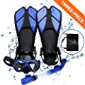 Aritan Snorkeling Snorkel Package Set, Anti-Leak Anti-Fog Coated Glass Diving Panoramic View Clear Tempered Glass Mask, Dry Top Soft Mouthpiece Snorkel Tube, Snorkeling Gear Bag