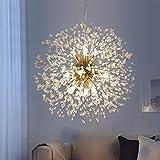 Dandelion Firework Crystal Sputnik Chandelier 9 Light, Palacelantern Pendant Ceiling Light Fixture for Bedroom Dining Room and Living Room