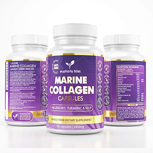 High Strength Marine Collagen Tablets - Skin, Hair, Nails & Joints - Fortified with Hyaluronic Acid, Blueberry, Biotin, Vitamin C, E, B2, B7 & Minerals - 1400MG - Type 1 90 Capsules
