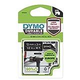 DYMO D1 Hochleistungs-Etikettenband   weiß auf schwarz  12 mm B x 5,5 m L   für LabelManager-Beschriftungsgerät   authentisches Produkt